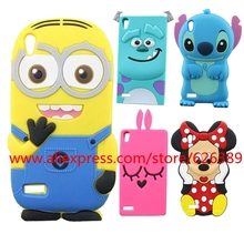 For Huawei P6 Case 3D Cartoon Silicone Minions Sulley Stitch Rabbit Minnie Character Cell Phone For Huawei Ascend P6 Cases Cover(China)