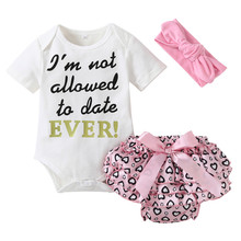 3pcs Newborn Toddler Baby Girls Letter Bodysuit + Heart Shorts + Headband Set Outfit Clothes Short Sleeve Baby Girl Bodysuits(China)