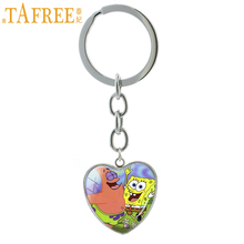 TAFREE Super cute case for spongebob squarepants keychain fashion american cartoon key chain ring lovely kids gift jewelry HP308(China)