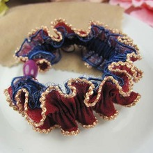 24PCS/LOT Women  Big fabric  Hair Band Rope Scrunchie Girl Ponytail Holder Lace  Headwear Accessories  Rubber Band