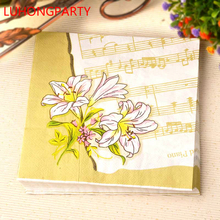 New 20pcs Lily flower Music Paper Glass Napkins folded Wedding Paper 100% Virgin Wood Tissue for coffee shop Party Decoration