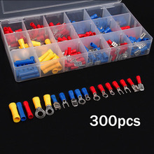 300Pcs Assorted Insulated Electrical Wire Terminals Set Crimp TerminatorButt Ring Spade Female/Male Disconnects Connectors Hot
