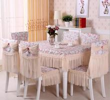 Lace floral photo printing cotton tablecloth set suit 150*200cm table cloth matching chair cover 3 colors 1 set price free ship