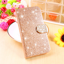 Stand Filp Glitter Bling Cell Phone Shell Covers For BQ Aquaris E5 Cases 4G Version Housing Bags Wallet Diamond Buckle Holster