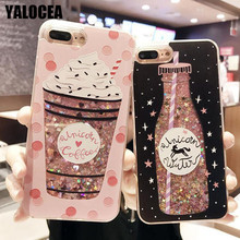 Buy YALOCEA Girls Cute Drink Bottle Bling Stars Dynamic Liquid Quicksand Phone Case iPhone 6 6s 7 8 Plus X Back Cover Coque Capa for $2.69 in AliExpress store