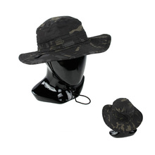 Multicam Black Men's Tactical Bucket Hat with wide brimmed edge  MCBK army Round-brimmed Sun Boonies hat Outdoor Camo bucket hat