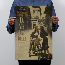 La Vita e bella/Italy film classic movie/kraft paper/bar poster/Retro Poster/decorative painting 51x35.5cm