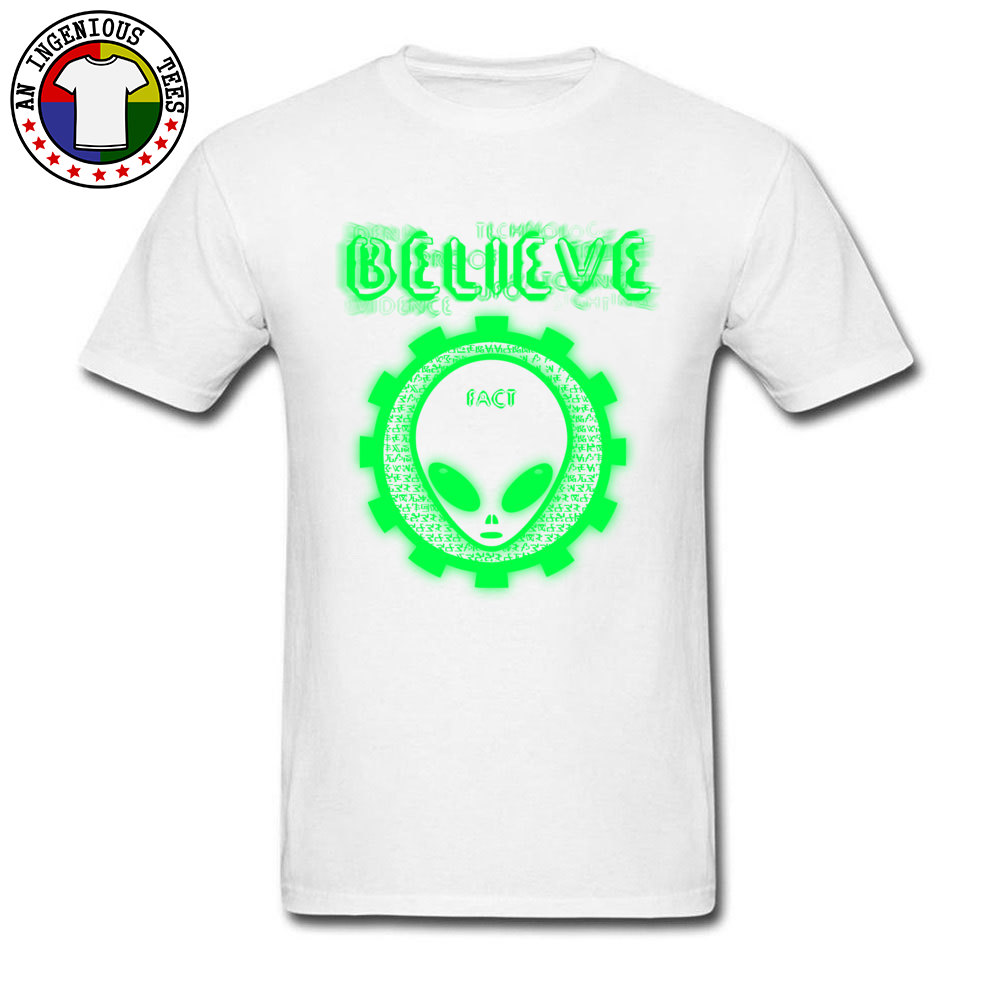 Believe Alien Fact Men Fashionable Tops Tees Crew Neck Summer 100% Cotton Top T-shirts Family Short Sleeve Tops Shirts Believe Alien Fact white