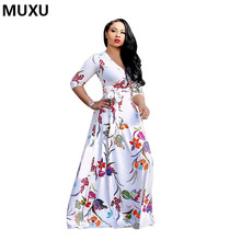Buy MUXU autumn sexy Floral print long dress long sleeve white long dresses ladies women maxi vestidos mujer womens clothing jurk for $32.02 in AliExpress store