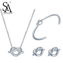 Buy SA SILVERAGE Real 925 Sterling Silver Knot Heart Jewelry Set Knot Chain Necklace Bangle Earrings Women Jewelry girl wedding gift for $67.19 in AliExpress store