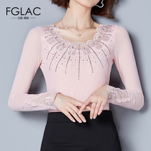 Buy FGLAC Women clothing New Arrivals 2017 Autumn Long sleeved Mesh tops Elegant Slim Diamond Elastic stretch women blouse shirt for $12.36 in AliExpress store