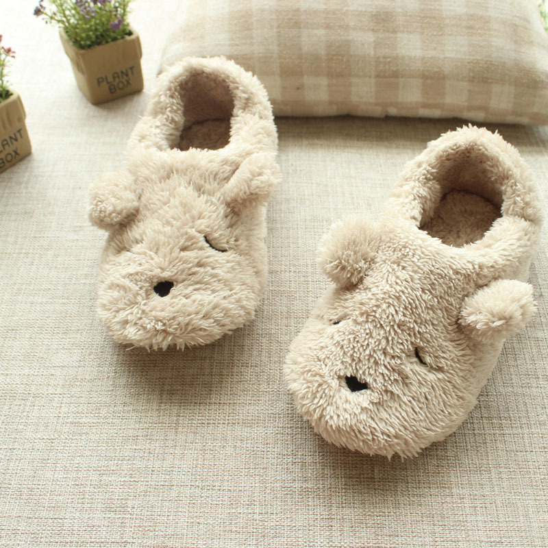 Cute Bear Winter Women Home Slippers For Indoor Bedroom House Soft Bottom Cotton Warm Shoes Adult Guests Flat Christmas Gift New<br><br>Aliexpress