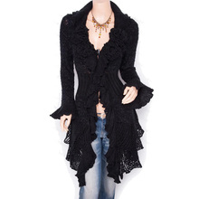 New design long cardigan Sweater Women Fashion Sexy 4 Buttons Full sleeve Knitted pull femme hiver lady jumper YQ010(China)