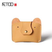 AETOO Retro simple leather ladies bear purse package creative coin bag hand mad horse cowboy bus card package