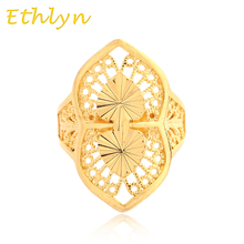 Ethlyn Free size Ethiopian women bridal /Engagement wedding ring 18k real gold plated Resizable  golden ring  women girls R022