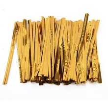 100 Pcs Gold Metallic Twist Ties for Cello Candy Bags Party 8cm(China)