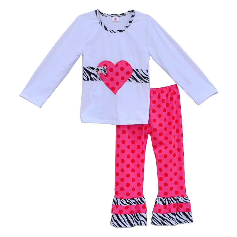 New Arrival Baby Girls Clothes Kids Valentines Outfits Heart Top Ruffle Polka Dot Pants Boutique Remake Children Clothing V009<br><br>Aliexpress