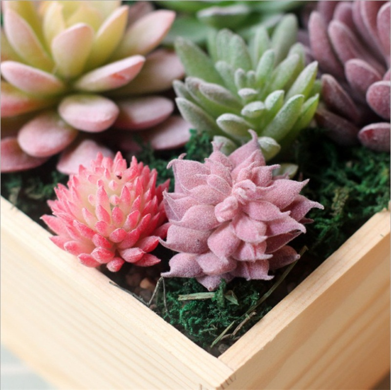 miniatures Home Simulation meat flocking plants Mini Succulents Plastic Artificial Plants Tree Garden Miniature Home Decor 86