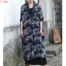 Plus Large Size Deep V-neck Long Ink Painting Thin Blouse Summer Women Vintage Artistic Casual Brand Linen Smock Dresses