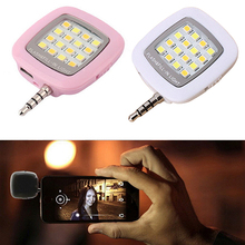 New Wholesale 3.5mm Jack Smart Selfie 16 LED Camera Flash Light For IOS Android iPhone 5s 6 6Plus 7DCP BLKU