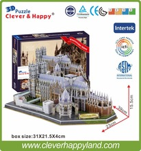 new clever&happy land 3d puzzle model Westminster Abbey adult puzzle diy paper warsaws model games for children paper(China)