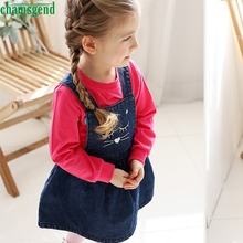 Fashion blue Toddler Kids Baby Girl character Cat Denim Print Princess Dress Sleeveless Overalls Dress P30 vestidos st8 dropship(China)