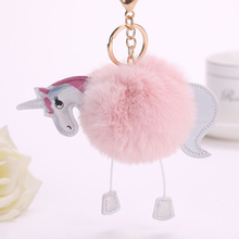 16 Color Fluffy Unicorn Pony Key Chains Artificial Rabbit Fur PomPom Keychain Women Bag Car Key Ring Hang Bag Accessories