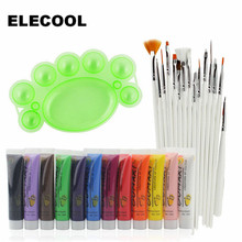 ELECOOL 28PCS Nail Art Set 15pcs Brush Painting Pen+12 Colors UV Gel Acrylic Nail Art Polish 3D Paints+1 Palette Plate Tool(China)