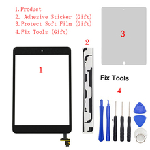 "1 stks Touch Screen Digitizer + IC Chip Connector + Knop Voor iPad Mini1 Mini 1 Mini2 Mini 2 7.9 ""A1432 A1454 A1455 A1489 A1490 A1491(China)"