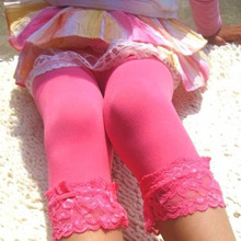 Cute Toddler Kids Girls Candy Lace Velvet Slim Leggings Stretchy Pants 5-9T(China)