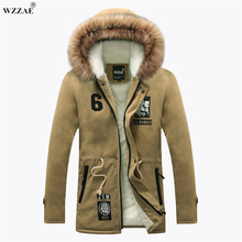 WZZAE 2017 Winter New Style Warm Men's Jacket Parka Thick Warm Fur Collar Long Cotton Jacket Men Comfortable Cotton Hooded Parka(China)