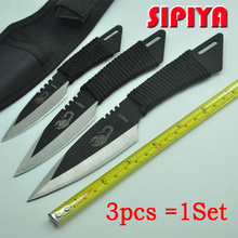 [3 in 1] knife tactical fixed blade knife survival Outdoor Camping Knives Stainless Steel Tactical Pocket Knife tools + Sheath