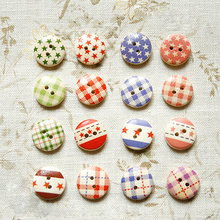 Looen Brand 16 Style Mixed , 100 pcs, Painting 2 Holes Wooden Flag Buttons 15mm Sewing Scrapbooking Crafts,Clothing Accessories(China)