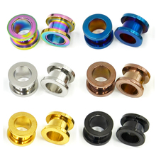 Colorful Anodized Stainless Steel Screw Fit Ear Flesh Tunnel Earring Plug Expander Body Jewelry Piercing Earlet Gauges(China)
