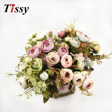 1 Bouquet Artificial Silk Flower High Quality European Pretty Fleur Flowers Crafts For Wedding Favors Home Garden DIY Decoration(China)