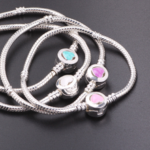Buy Couqcy New 2018 Hot Sale 18-21cm Silver Snake Chain Charm Bead Fit Original Bracelet Jewelry Gift Women 4 Colors for $1.25 in AliExpress store