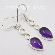 Chanti International Silver Fabulous PURPLE Amethysts Gem WELL MADE Earrings 4.1 CM(China)