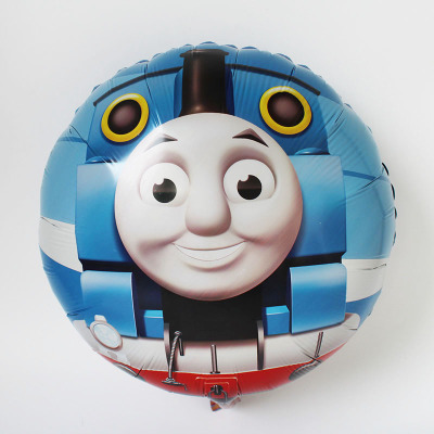 Lucky 50pcs/lot 45*45cm Round Thomas And Friend Foil Balloons Cartoon Thomas Mylar Balloons For Child Birthday Party Decorations(China)