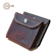 EACME Handmade Delicate Small Card Case Crazy Horse Leather Wallets Thin Credit Card Business Cards Pack Holder Bank Card Cases