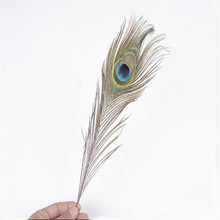 IDFIAF 50 pcs 25-30cm Beautiful Natural Peacock Tail Feathers Eyes Feathers Decorations for Craft / Art / Dress / Hats / Bridal