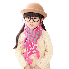 Fashion Children Scarf Christmas Gift Classical Five Pointed Star Knit Fashion colorful Striped Unisex Baby Scaves Wrap Shawl