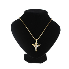 1 Pcs New Fashion Pure Gold Color Chain Angel Necklace Angel Wings Crystal Pendant Alloy Chain Necklace Wedding Gifts for Women(China)