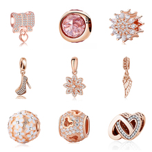 Buy Real 925 Sterling Silver Rose Gold Charm Radiant Droplets Crystal Clip Beads Fits Original Pandora Bracelets DIY Jewelry Gifts for $4.54 in AliExpress store