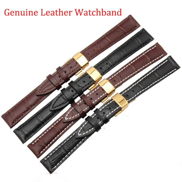12mm 14mm 16mm 18mm 19mm 20mm 21mm 22mm New Black Brown Genuine Leather Watchband Watch Band Strap Bracelet With Gold deployment<br><br>Aliexpress