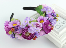 2016 New Women girls Newest Wedding Headband Kids Party Floral garlands with Ribbon flower crown Rose Wreath hairband(China)