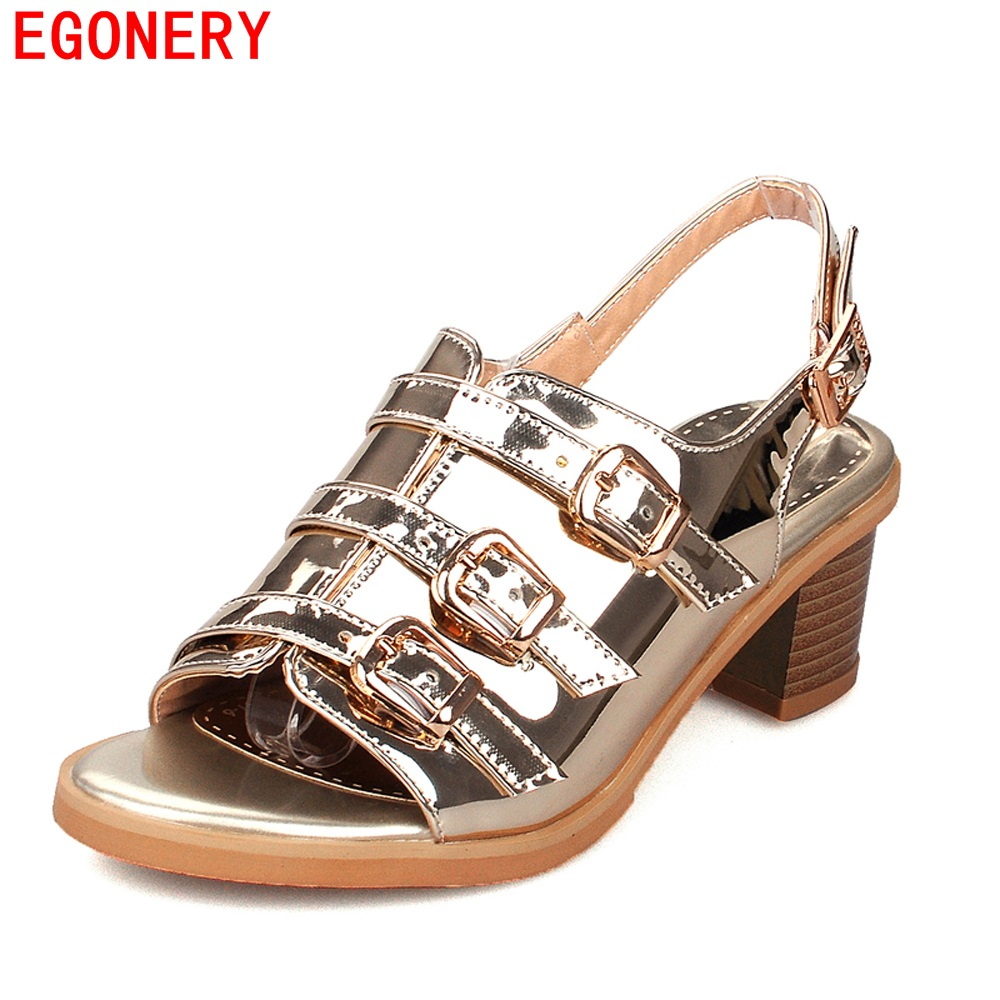 Vintage Gold Patent Leather Strap Buckle Peep Toe Summer Style Shoes for Woman 5 cm Square Heels Womens Sandals <br><br>Aliexpress