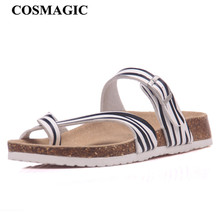 COSMAGIC Fashion Cork Sandals Slipper 2017 New Women Summer Mixed Color Casual Beach Slip on Flip Flops Slides Shoe Flat(China)