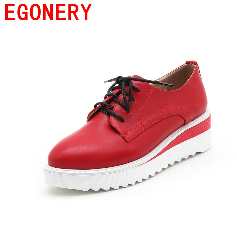 EGONERY female large size fashion candy color campus med wedges lace-up woman shoes manual common round toe daily spring shoes<br>
