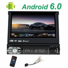 Android 6.0 Single din wifi DVD CD player with 7 Colors LEDs button indicator support WiFi,3G/4G,AM FM Radio and Steering Wheel(China)