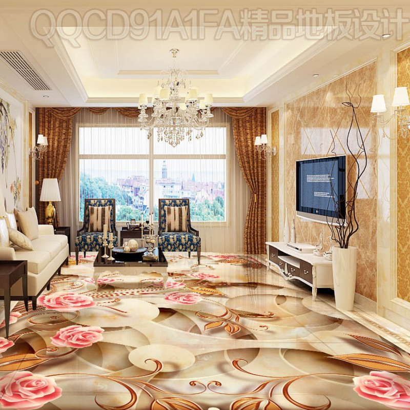 Free Shipping Art stone shading abstract pattern 3D floor painting self-adhesive bedroom lobby wallpaper mural<br>
